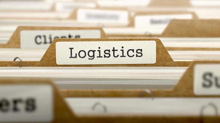 "Closeup of file tab that reads ""Logistics"""