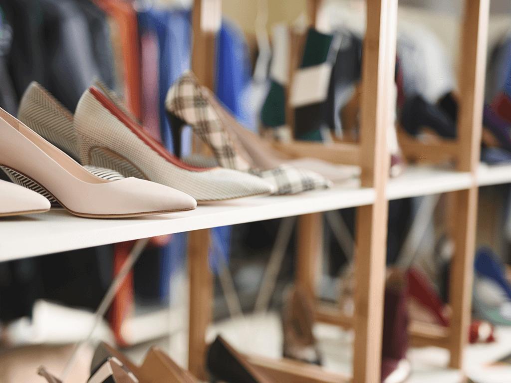 Shoes display on a retail shelf